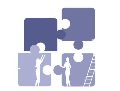icon of team putting together puzzle pieces