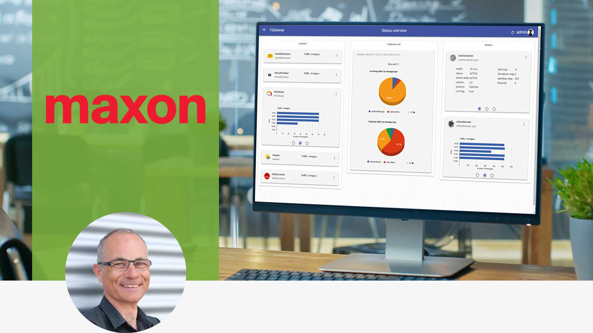 portrait of customer maxon, its logo and a screenshot of the 1gateway solution